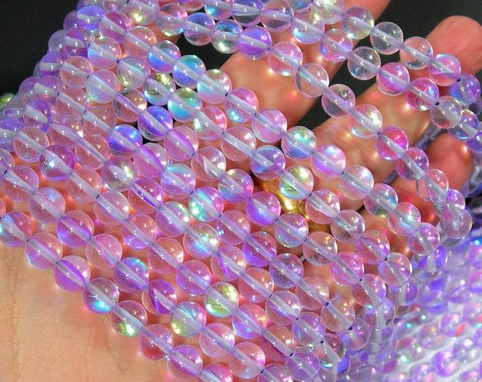Lavender Purple  Mystic aura quartz - 8mm round - Holographic quartz - 49 Beads - full strand - RFG1805