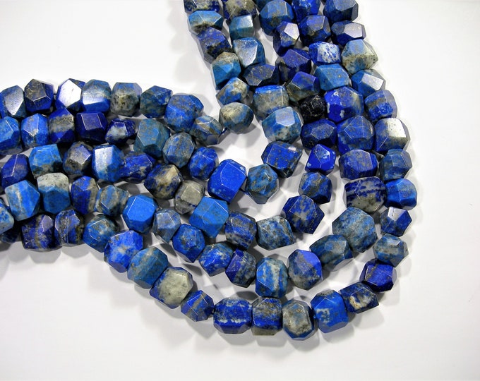 Lapis Lazuli - faceted nugget  - 1 full strand - 32 beads  - Big cut nugget - RFG1828