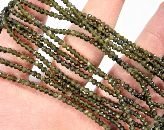 Gold Obsidian  - 2.3mm faceted round beads - full strand - 165 beads - A Quality - PG168
