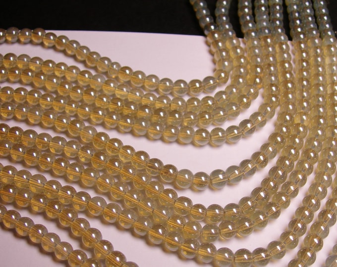 Crystal - round - 6mm - grey clear - full strand - 55 beads - pearlized - N3A