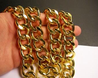 Gold chain - 1 meter - 3.3 feet - aluminum chain - big gold curb chain  NTAC142