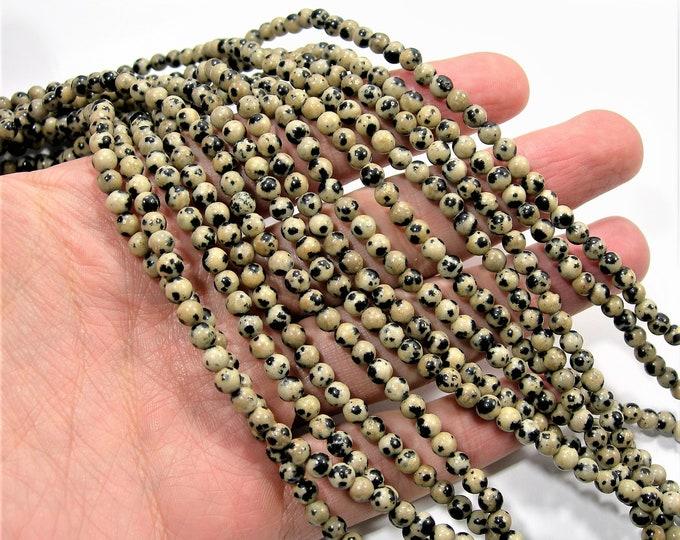Dalmatian jasper - 4mm(4.5mm) - 87 beads - full strand - A quality - RFG1015