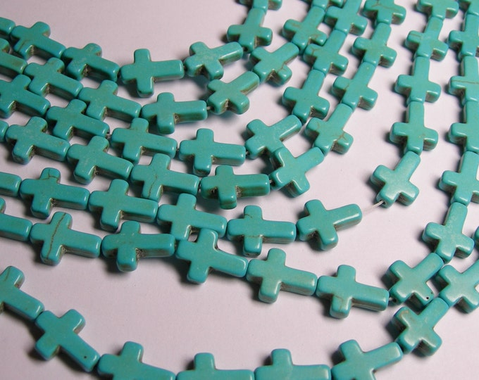Howlite cross bead - howlite turquoise  -1 full strand - 25 crosses
