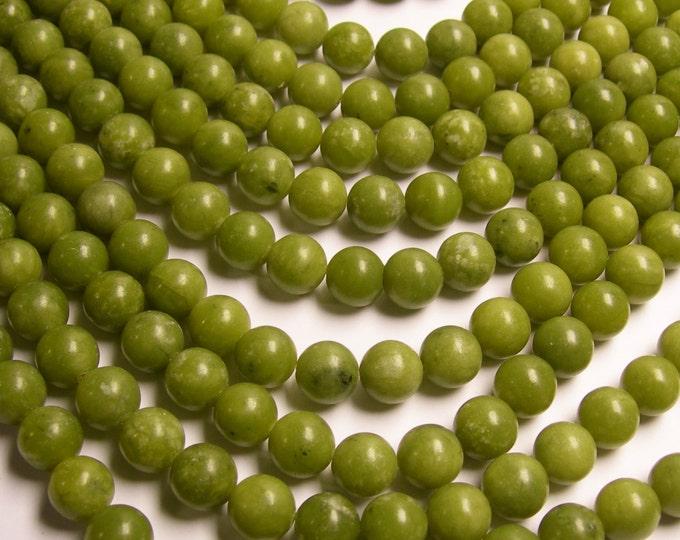Serpentine jade - 10mm round - A quality -  40  beads - full strand - green - RFG200