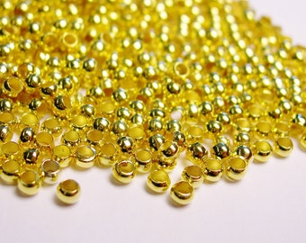 Crimp beads 2mm 1000 pcs - Gold  - Good value -GCB2