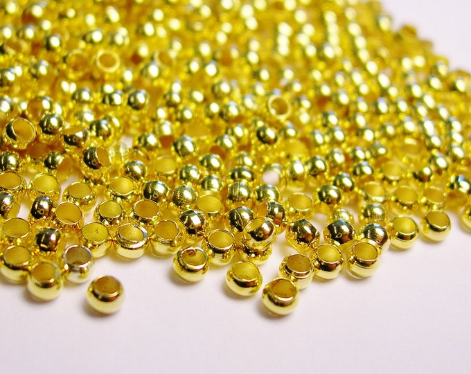 Crimp beads 2mm 1000 pcs - Gold  - Good value -GCB2