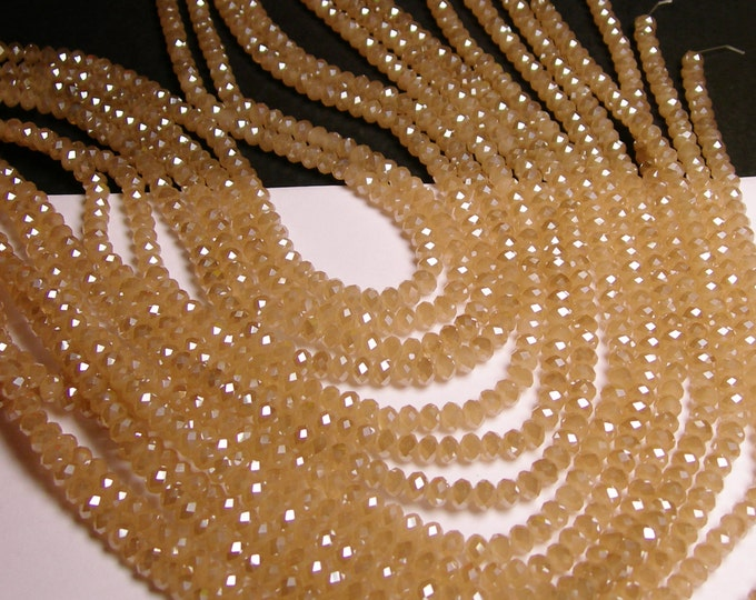 Crystal faceted rondelle - 98 beads - 6 mm - AA quality - opaque - sparkle beige - full strand - CBFB22