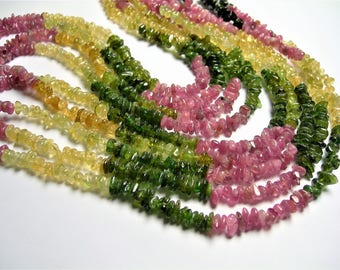 Tourmaline - chip stone beads - 1 full strand - 16 inch - A quality - multi color - RFG608