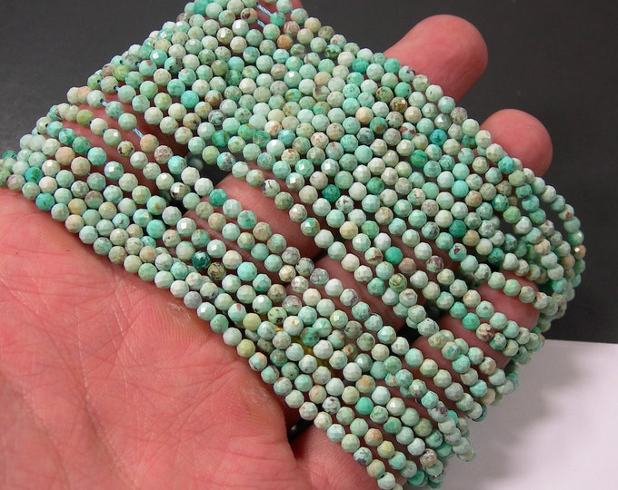 Turquoise - 3mm micro faceted faceted beads - full strand - 120 beads - Turquoise gemstone - PG374