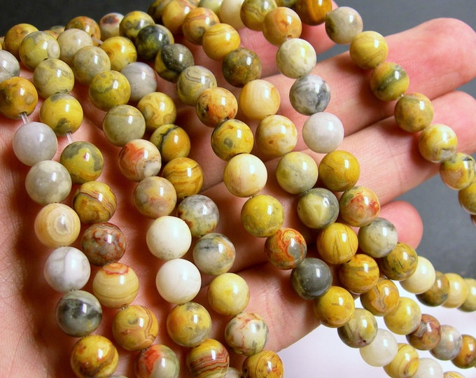 Crazy Lace Agate - 8mm (8.3mm) round - 1 full strand - 48 beads - A quality - RFG340