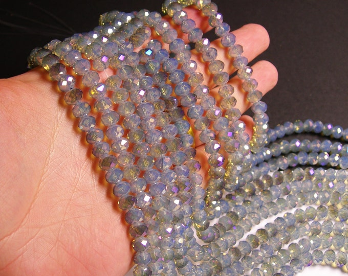 Crystal faceted rondelle - 72 pcs -  8 mm - AA quality - full strand - Ab - aurora grey - GSH23