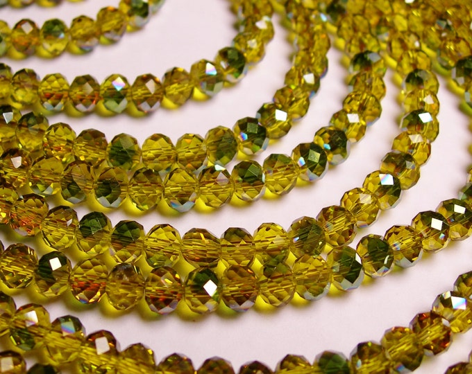 Crystal faceted rondelle - 100 beads - 6 mm - AA quality - amber green sparkle  - full strand - CBFB8