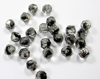 24pcs Faceted crystal onion briolette beads - 8mm - top sideways drill - smoky black charcoal  - BCO10