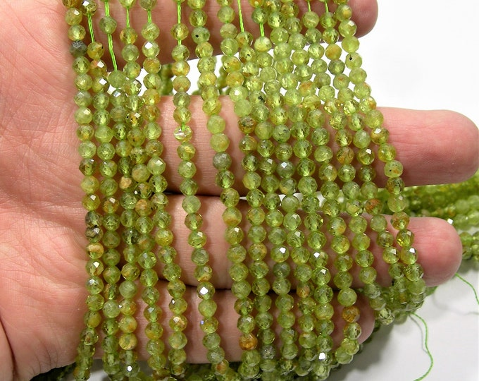 Peridot - 4mm ( 3.8mm) micro faceted round beads -  full strand - 105 beads - A quality - Persidot gemstone - PG258