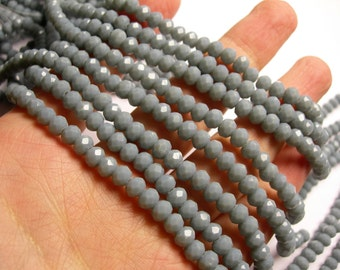Crystal faceted rondelle - 98 beads - 6 mm - A quality - matte - Grey - full strand - CRV138