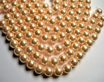 Pearl 12 mm round  light peach Pearl  1 full strand - 33 beads - SPT49 - Shell pearl