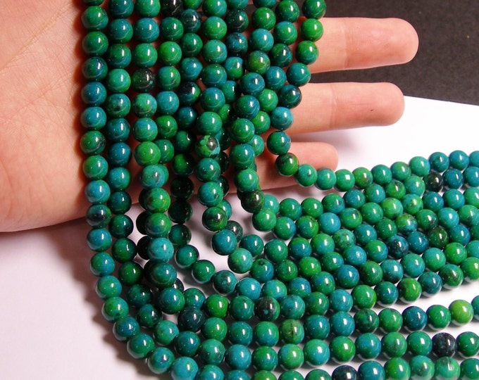 Chrysocolla 8mm round beads - full strand  48 beads - reconstituted - RFG799
