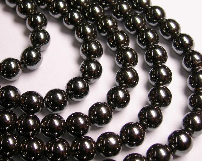 Hematite - 10 mm  round beads -1 full strand - 41 beads - RFG1053