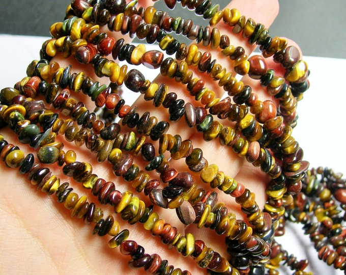 Tiger eye multi color - chip stone beads - pebble - 36 inch strand - PSC254