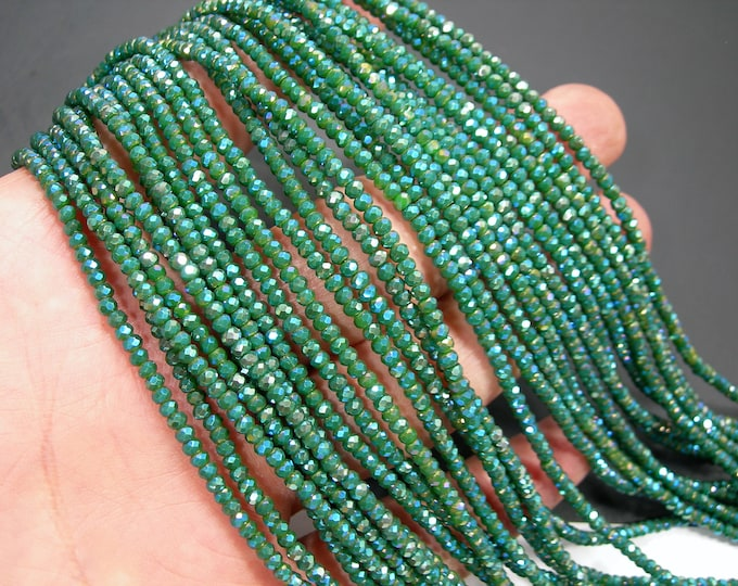 Crystal - rondelle faceted 3mm x 2mm beads - 186 beads - AA quality - Mystic aqua emerald  - CAA2G243