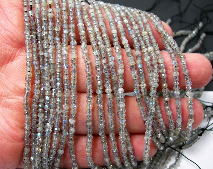 Labradorite - 2.4mm faceted rondelle beads - full strand  188 beads - micro faceted labradorite - PG367