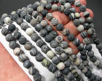 Silk Stone matte - 8 mm - round bead - 49 beads - full strand - matte - Spider Jasper - RFG490