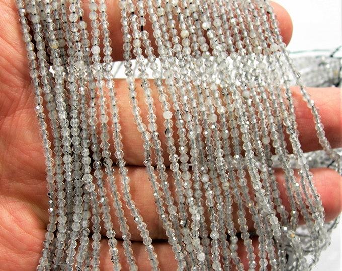 Grey quartz - 2mm faceted round beads - full strand - 182 beads - light rutile quartz - PG195