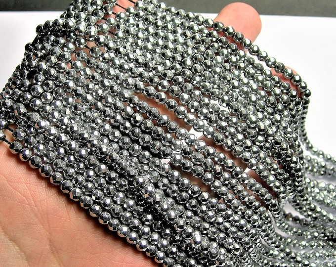 Hematite silver - 4 mm faceted round beads -1 full strand - 100 beads - AA quality - PHG33