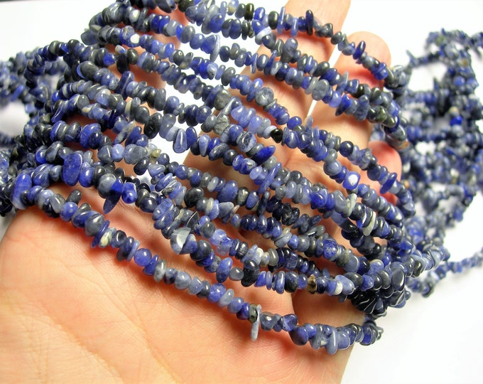 Sodalite - 4mm - chip stone rounded pebble beads - 36 inch strand  - PSC318
