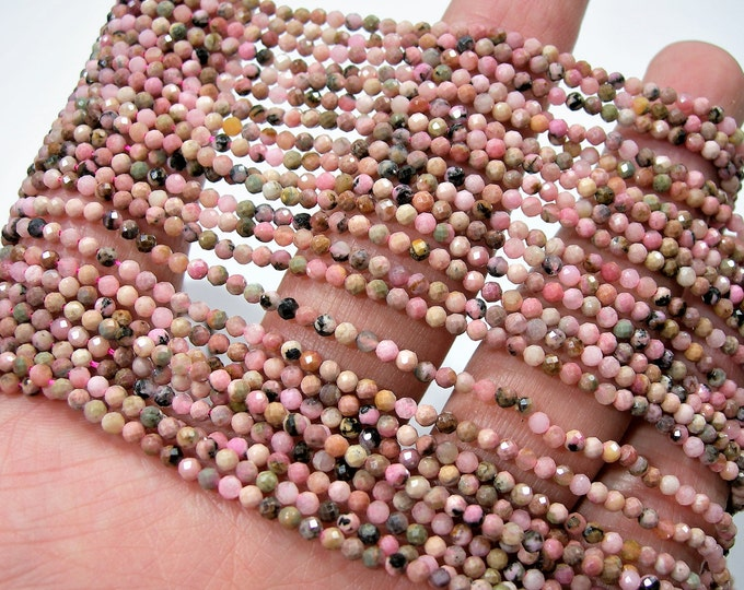 Rhodonite - 2mm ( 2.4mm) faceted round beads - full strand 163 beads - micro faceted Rhodonite - PG253