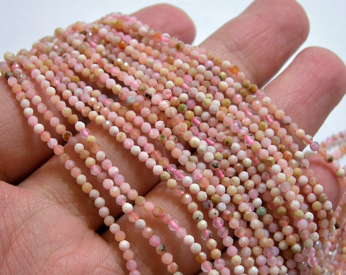 Pink Opal - 2mm faceted round beads - 1 full strand - 191 beads - Peruvian pink opal  - A Quality - PG74