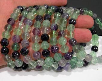 Fluorite - 1 set - 8mm - 23 beads - Rainbow Fluorite - HSG165