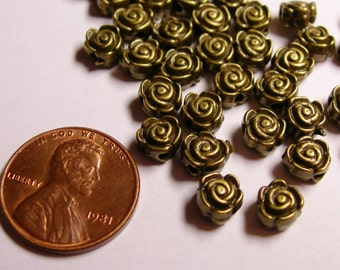 50 flower beads -  brass tone engraved flower beads - hypoallergenic- 50pcs - ZAB43