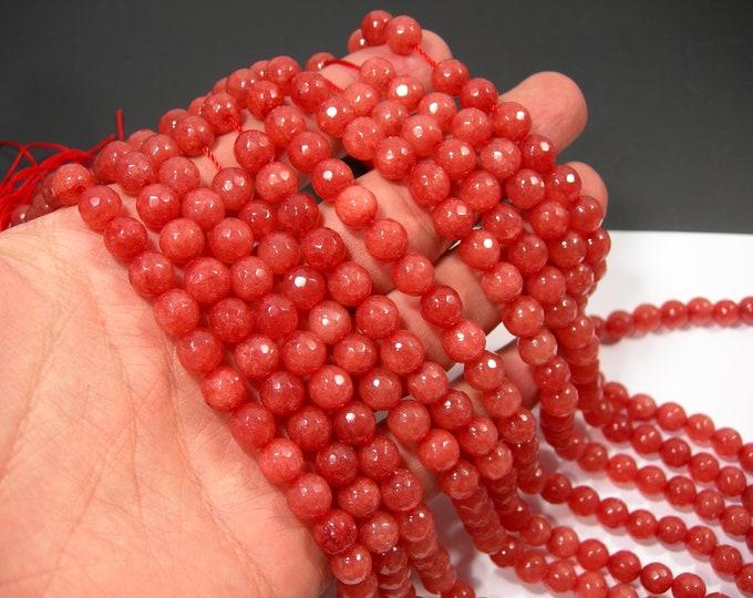 Jade - 8 mm faceted round beads - full strand - 48 beads - Strawberry peach Jade - RFG1994