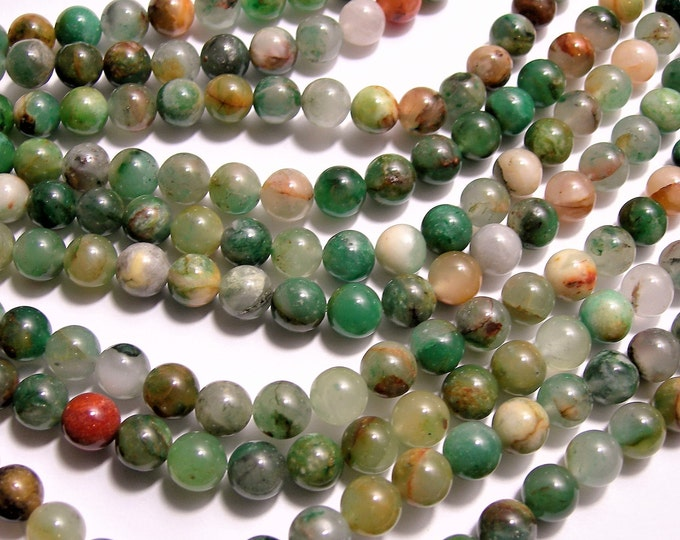 African green flower chalcedony- 8mm round beads - full strand - 49 beads - Chalcedony - RFG1493