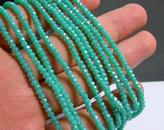 Crystal - rondelle faceted 3.5mm x 2.5mm beads - 135 beads - Aqua turquoise AB - full strand - MAC12