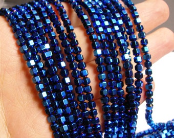 Hematite mystic blue - 4 mm faceted hexagon  beads -1 full strand -98 beads - AA quality - PHG42