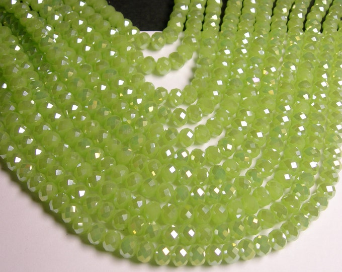 Crystal faceted rondelle - 70 pcs - 8 mm - A quality - full strand - ab green  - GSH35