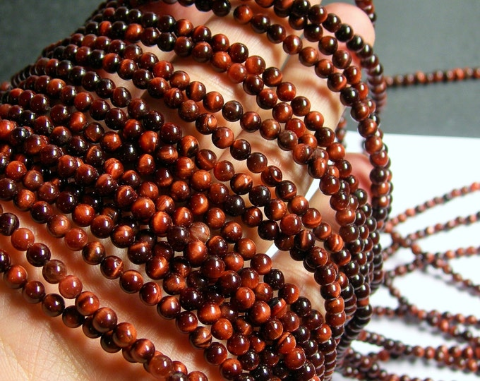 Red Tiger eyes - 4mm ( 4.3mm) round - A quality -  87 beads -  full strand - RFG478