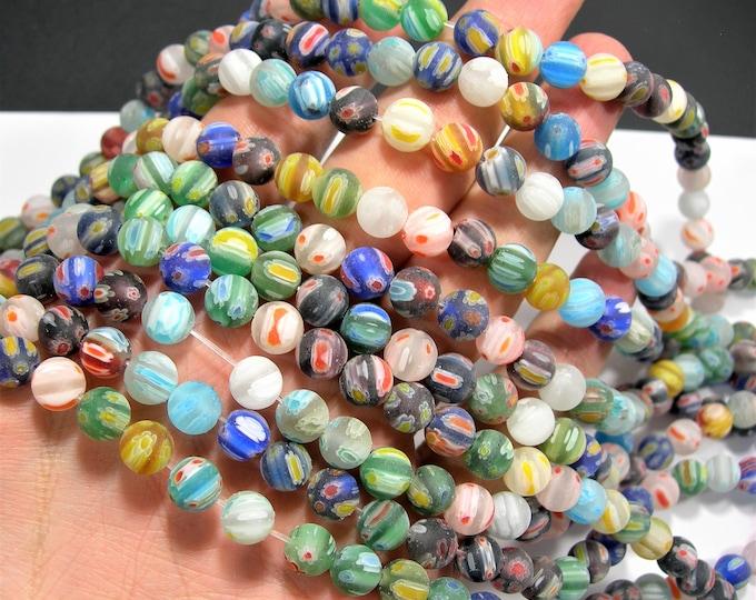 Millefiori - 8 mm round beads - matte  full strand - 49 beads - RFG2003