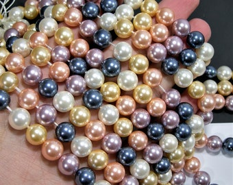 Pearl 10 mm round - lustruous multi color Pearl  -  full strand 40 beads  - Shell pearl - RFG1864