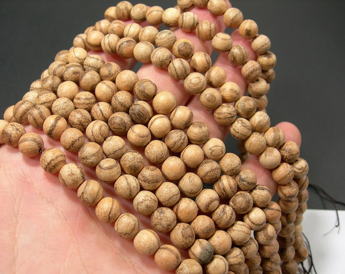 Wood Tree aloe - 8 mm round beads - full strand - 49 beads - Aloidendron barberae - RFG2151