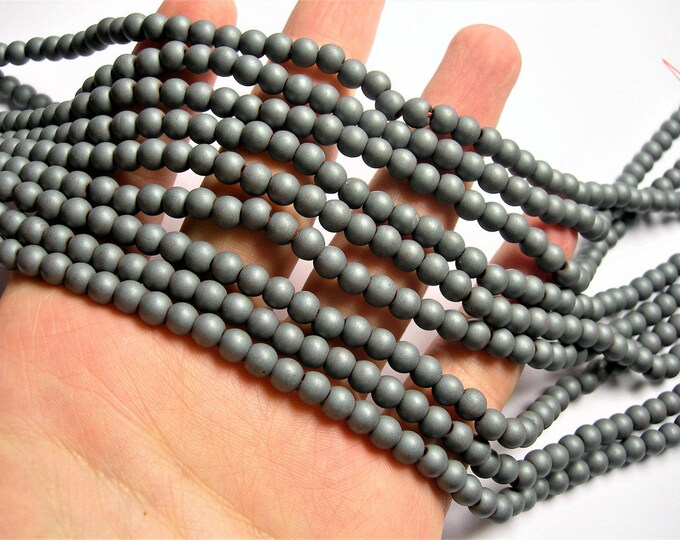 Hematite Matte  6mm (5.6mm) round beads big hole - 1 full strand - 77 beads - matte - Wholesale Deal -  RFG1249