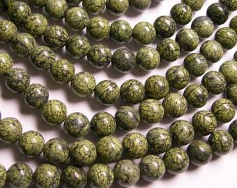 Russian Serpentine - 8 mm round beads -1 full strand - 49 beads - A quality - WHOLESALE DEAL - RFG81