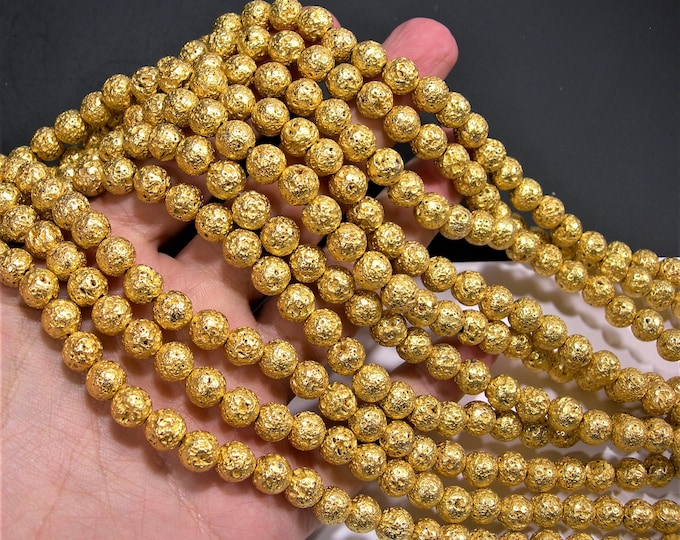 Gold Plated Lava - 8mm round -  full strand - 50 beads - A Quality - Lava  volcanic gem - Bright gold - RFG1862