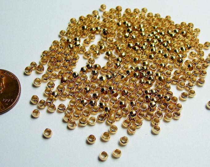 Crimp beads 3mm(2.7mm) 1000 pcs light copper gold  good value - S8