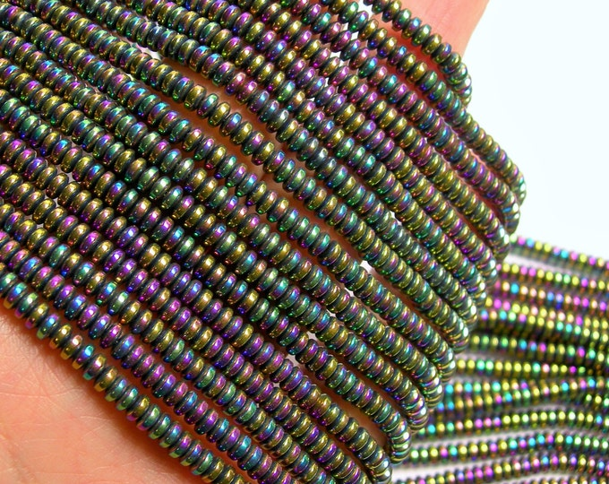 Hematite rainbow - 4x2 rondelle beads - 1 full strand - 188 beads - AA quality - 4mmx2mm - PHG217