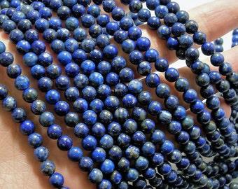 Lapis lazuli 6mm Natural -  full strand  - 62 beads  - Wholesale Deal - RFG884