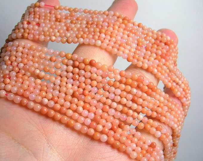 Peach Aventurine - 3mm round beads -  full strand - 128beads - A Quality - PG47
