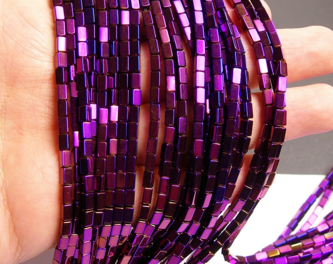 Hematite Purple - 5mm rectangle beads -  full strand - 80 beads - AA quality  - 5x3 - PHG55